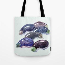 Eggplants. Six aubergine. Egg-shaped fruit purple colored. Brinjal,guinea squash. Harvest. Blu Tote Bag