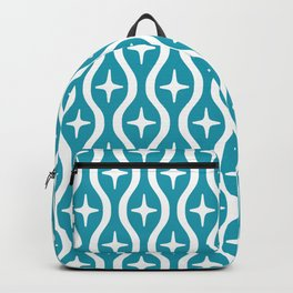 Mid century Modern Bulbous Star Pattern Turquoise Backpack