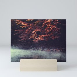 River Morning - Rising fog and tree in fall foliage at the river Mini Art Print