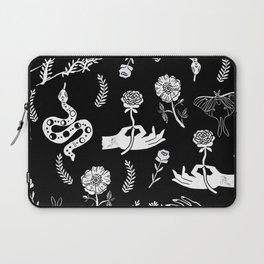 Linocut snakes hand rose floral black and white spooky gothic pattern Laptop Sleeve