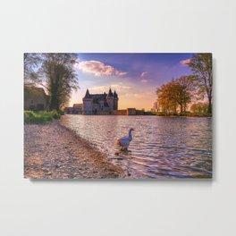 Famous medieval castle Sully sur Loire, Loire valley, France. Metal Print
