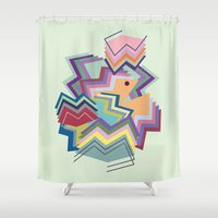 pacman Shower Curtains featuring pacman by carolinegeys