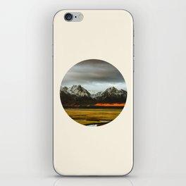 Iceland Landscape Grass Orange Sand & Grey Mountains Round Frame Photo iPhone Skin