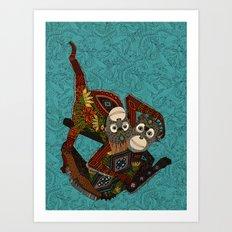 orangutans blue Art Print