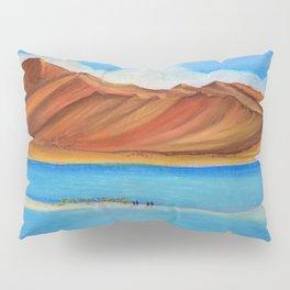 Pangong lake in pastel colours, Landscape painting. Pillow Sham