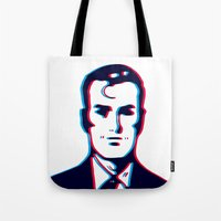 no face Tote Bags featuring face by radiozimbra