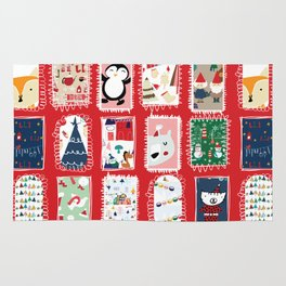 Christmas around the World red #Christmas Rug