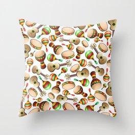 Guitar Maracas Bongo Pattern Throw Pillow