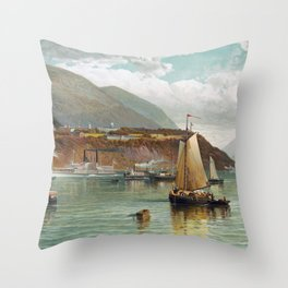 Boats On The Hudson With West Point In The Background - Andrew Melrose Throw Pillow