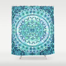 Aqua Mosaic Mandala Shower Curtain