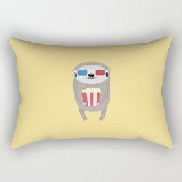 Cinema Sloth with Popcorn and Glasses T-Shirt Rectangular Pillow