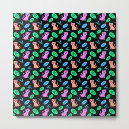 Funny cute happy little baby pink orange tigers tropical rainforest exotic green blue leaves pattern Metal Print
