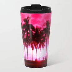 Pink Summer Palm Trees Travel Mug