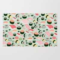 sushi Area & Throw Rugs featuring Sushi Love by Kristin Nohe Juchs