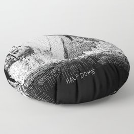 Hangin at Half Dome - White on Black Floor Pillow