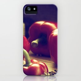 Fresh red peppers in retro still life iPhone Case