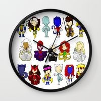 x men Wall Clocks featuring X MEN GROUP by Space Bat designs