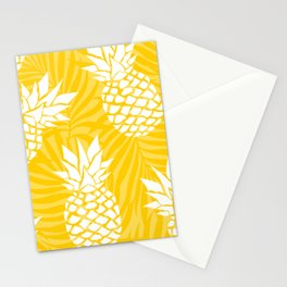 Hawaii Prints, Pineapple Summer, Yellow Art Stationery Cards