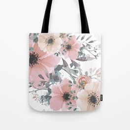 Peach Blush Watercolor Flowers Tote Bag