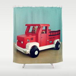 Toy Fire Truck Shower Curtain
