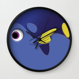 Blue ornamental fish cartoons Wall Clock