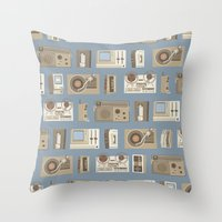 technology Throw Pillows featuring Obsolete Technology by Daniel long Illustration
