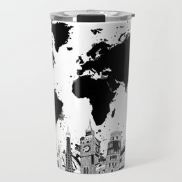 world map city skyline 4 Travel Mug