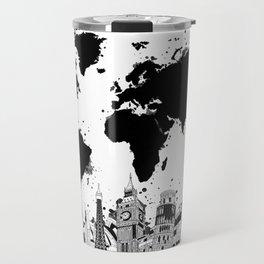 world map city skyline 4 Travel Mug