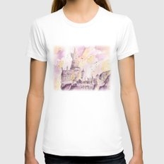hogwarts Womens Fitted Tee White SMALL