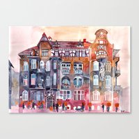 takmaj Canvas Prints featuring Apartment House in Poznan and orange umbrellas by takmaj
