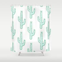 cactus Shower Curtains featuring Cactus by Emma Winton