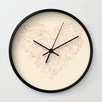 penis Wall Clocks featuring Penis Heart by Prepuce