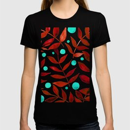 Watercolor berries and branches - red and turquoise T-shirt