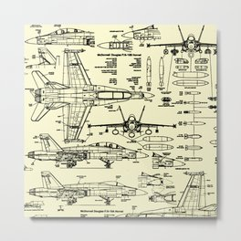 F-18 Blueprints // Parchment Metal Print