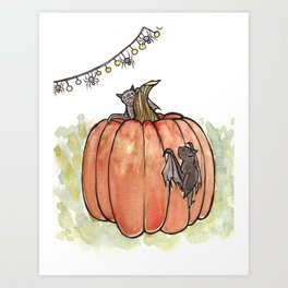 Baby Bats at the Pumpkin Patch Art Print