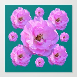 Pink Wild Roses on Teal Color Canvas Print