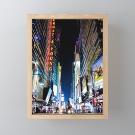 Crossing The Street in Times Square Framed Mini Art Print