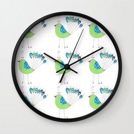 Peacock Fan Heart Wall Clock