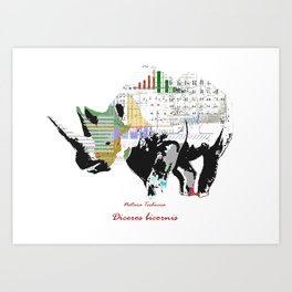 Natura Technica - Black Rhinoceros Art Print