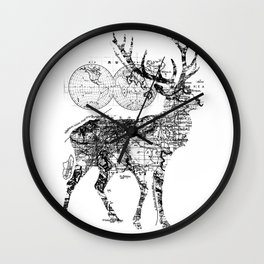 Deer Wanderlust Black and White Wall Clock