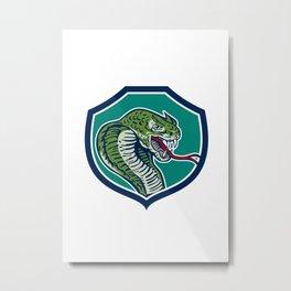 Cobra Viper Snake Shield Retro Metal Print