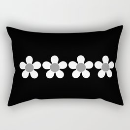 Spring Daisies - Geometric Monochrome Design in White and Grey on Black Rectangular Pillow