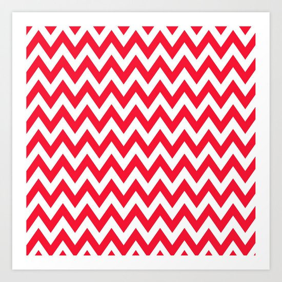 Christmas Red Chevron Art Print
