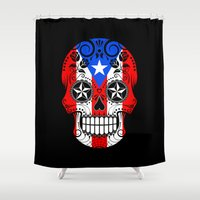 puerto rico Shower Curtains featuring Sugar Skull with Roses and Flag of Puerto Rico by Jeff Bartels
