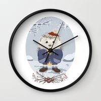 leon Wall Clocks featuring Leon by Laure Lilyvale