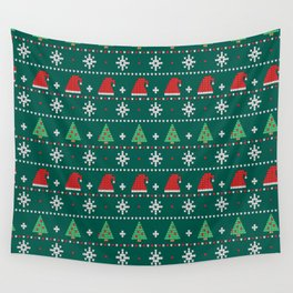 Ugly Christmas Trees Sweater Pattern Wall Tapestry
