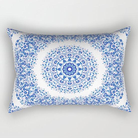 Blue White Floral Mandala Rectangular Pillow