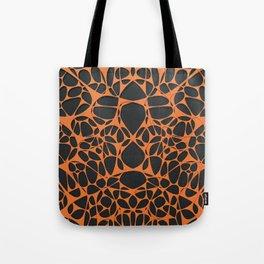Orange on black, organic abstraction Tote Bag