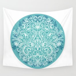 Spring Arrangement - teal & white floral doodle Wall Tapestry