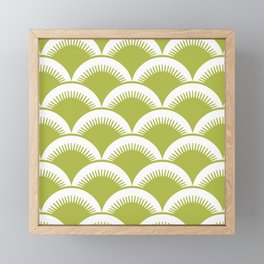 Japanese Fan Pattern Chartreuse Framed Mini Art Print